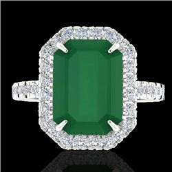5.33 CTW Emerald And Micro Pave VS/SI Diamond Halo Ring 18K White Gold - REF-87F6N - 21425