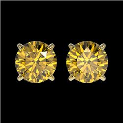 1.54 CTW Certified Intense Yellow SI Diamond Solitaire Stud Earrings 10K Yellow Gold - REF-192W2F -