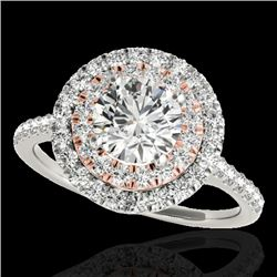 1.5 CTW H-SI/I Certified Diamond Solitaire Halo Ring 10K White & Rose Gold - REF-163A6X - 33353