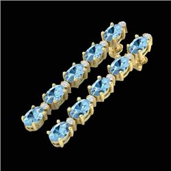 12.47 CTW Aquamarine & VS/SI Certified Diamond Tennis Earrings 10K Yellow Gold - REF-126H5A - 29474