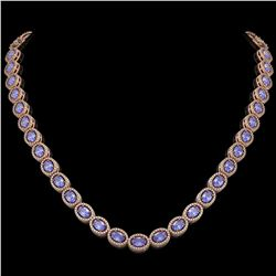 31.96 CTW Tanzanite & Diamond Halo Necklace 10K Rose Gold - REF-604Y2K - 40410