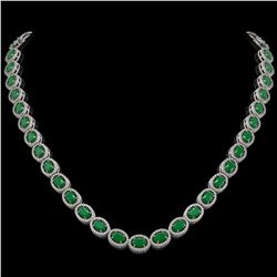 34.11 CTW Emerald & Diamond Halo Necklace 10K White Gold - REF-562A9X - 40400
