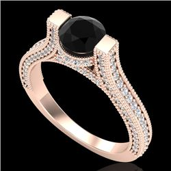 2 CTW Fancy Black Diamond Solitaire Engagement Micro Pave Ring 18K Rose Gold - REF-160X2T - 37619