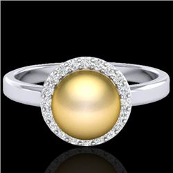 0.25 CTW Micro Pave Halo VS/SI Diamond & Golden Pearl Ring 18K White Gold - REF-53F6N - 21631