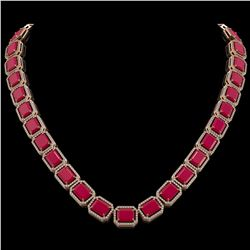 84.94 CTW Ruby & Diamond Halo Necklace 10K Rose Gold - REF-930H2A - 41478