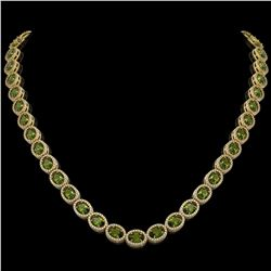31.1 CTW Tourmaline & Diamond Halo Necklace 10K Yellow Gold - REF-600F2N - 40423