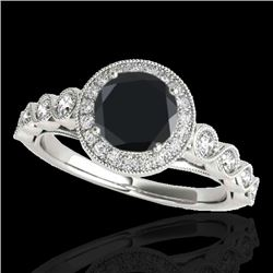 1.5 CTW Certified VS Black Diamond Solitaire Halo Ring 10K White Gold - REF-68K2W - 33601
