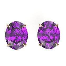 5 CTW Amethyst Designer Inspired Solitaire Stud Earrings 14K Rose Gold - REF-25H8A - 21648
