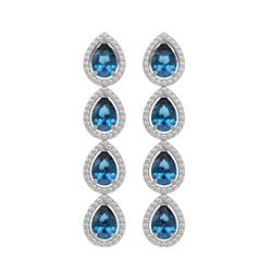 7.81 CTW London Topaz & Diamond Halo Earrings 10K White Gold - REF-139M5H - 41174