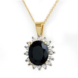 5.20 CTW Blue Sapphire & Diamond Pendant 10K Yellow Gold - REF-70K2W - 14084