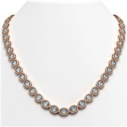 24.65 CTW Aquamarine & Diamond Halo Necklace 10K Rose Gold - REF-572T8M - 40425