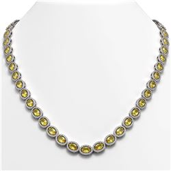 28.52 CTW Fancy Citrine & Diamond Halo Necklace 10K White Gold - REF-498X9T - 40442