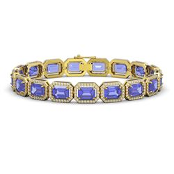 25.36 CTW Tanzanite & Diamond Halo Bracelet 10K Yellow Gold - REF-606K8W - 41389