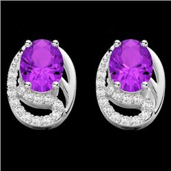 2.50 Amethyst & Micro Pave VS/SI Diamond Stud Earrings 10K White Gold - REF-25N6Y - 22323