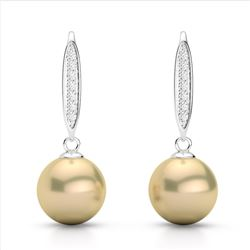0.18 CTW Micro Pave VS/SI Diamond & Golden Pearl Designer Earrings 18K White Gold - REF-34K5W - 2263