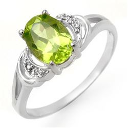 1.55 CTW Peridot & Diamond Ring 18K White Gold - REF-22K5W - 13465