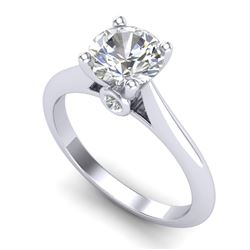 1.36 CTW VS/SI Diamond Solitaire Art Deco Ring 18K White Gold - REF-490T9M - 37289