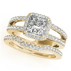1.51 CTW Certified VS/SI Princess Diamond 2Pc Set Solitaire Halo 14K Yellow Gold - REF-252Y5K - 3134