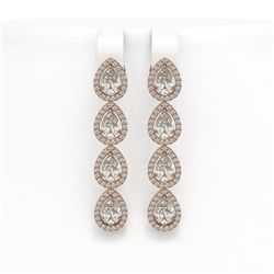 6.01 CTW Pear Diamond Designer Earrings 18K Rose Gold - REF-1127M6H - 42738