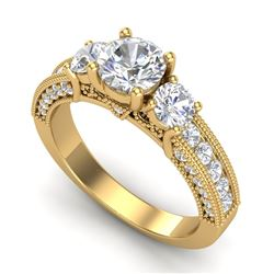2.07 CTW VS/SI Diamond Solitaire Art Deco 3 Stone Ring 18K Yellow Gold - REF-327H3A - 37018