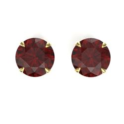 4 CTW Garnet Designer Inspired Solitaire Stud Earrings 18K Yellow Gold - REF-29Y3K - 21824
