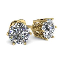 0.50 CTW VS/SI Diamond Stud Solitaire Earrings 18K Yellow Gold - REF-58M2H - 35815