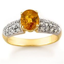 2.0 CTW Yellow Sapphire & Diamond Ring 10K Yellow Gold - REF-52H8A - 10846