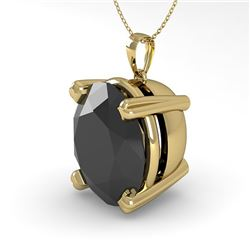 9.0 CTW Oval Black Diamond Designer Necklace 14K Yellow Gold - REF-191H8A - 38438