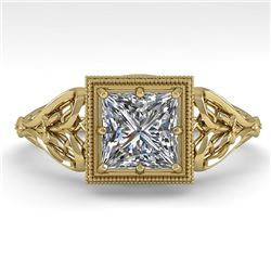 1.0 CTW VS/SI Princess Diamond Solitaire Engagement Ring Deco 18K Yellow Gold - REF-344T4M - 36043