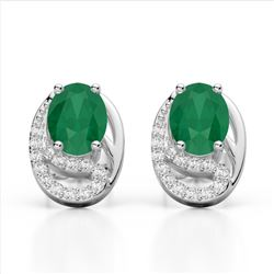 2.50 Emerald & Micro Pave VS/SI Diamond Stud Earrings 10K White Gold - REF-25N6Y - 22331