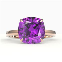 6 CTW Cushion Cut Amethyst Designer Solitaire Engagement Ring 14K Rose Gold - REF-28X4T - 22168
