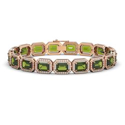 26.38 CTW Tourmaline & Diamond Halo Bracelet 10K Rose Gold - REF-411N3Y - 41400