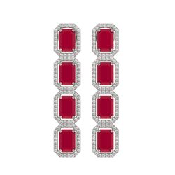 12.33 CTW Ruby & Diamond Halo Earrings 10K White Gold - REF-168K2W - 41429