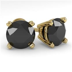 3.0 CTW Black Diamond Stud Designer Earrings 14K Yellow Gold - REF-82H9A - 38384