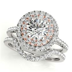 1.45 CTW Certified VS/SI Diamond 2Pc Set Solitaire Halo 14K White & Rose Gold - REF-228M2H - 30683