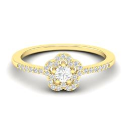 0.35 CTW Micro Pave VS/SI Diamond Ring Moon Halo In 10K Yellow Gold - REF-27T5M - 21415