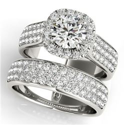 2.59 CTW Certified VS/SI Diamond 2Pc Wedding Set Solitaire Halo 14K White Gold - REF-475K5W - 31166