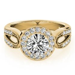1.4 CTW Certified VS/SI Diamond Solitaire Halo Ring 18K Yellow Gold - REF-418T2M - 27080