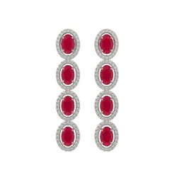 6.47 CTW Ruby & Diamond Halo Earrings 10K White Gold - REF-114X2T - 40505