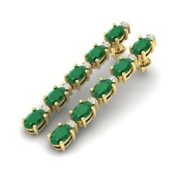 17.97 CTW Emerald & VS/SI Certified Diamond Tennis Earrings 10K Yellow Gold - REF-176T4M - 29479