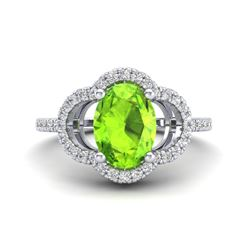 1.75 CTW Peridot & Micro Pave VS/SI Diamond Ring 10K White Gold - REF-35W8F - 20988