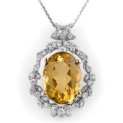12.8 CTW Citrine & Diamond Necklace 14K White Gold - REF-106W8F - 10339