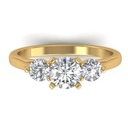 1.37 CTW Certified VS/SI Diamond Art Deco 3 Stone Ring 14K Yellow Gold - REF-212H9A - 30485