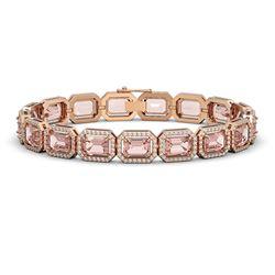22.81 CTW Morganite & Diamond Halo Bracelet 10K Rose Gold - REF-569Y6K - 41391