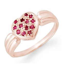 0.40 CTW Pink Sapphire Ring 18K Rose Gold - REF-38T2M - 13645