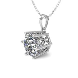 0.50 CTW Certified VS/SI Diamond Necklace 18K White Gold - REF-84F9N - 35859