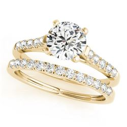 1.45 CTW Certified VS/SI Diamond Solitaire 2Pc Wedding Set 14K Yellow Gold - REF-373F8N - 31696
