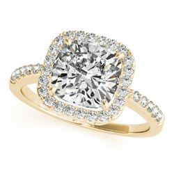0.6 CTW Certified VS/SI Cushion Diamond Solitaire Halo Ring 18K Yellow Gold - REF-90N9Y - 27113