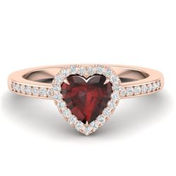 1.20 CTW Garnet & Micro VS/SI Diamond Ring Heart 14K Rose Gold - REF-35X3T - 21405