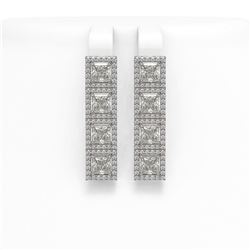 6.08 CTW Princess Diamond Designer Earrings 18K White Gold - REF-1132H4A - 42728